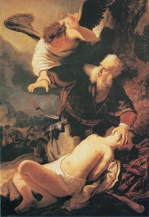 schilderij Rembrandt van Abraham die zijn zoon Isaak wil offeren.