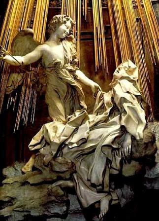 De heilige Teresa van Avila door Gianlorenzo Bernini in de Santa Maria della Vittoria in Rome.