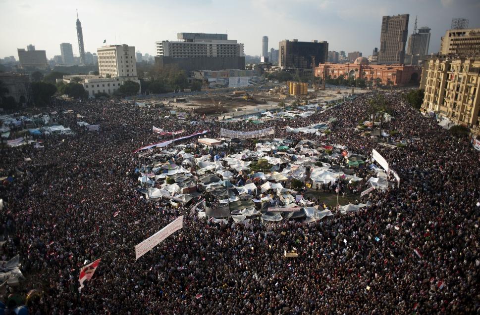 Tahir plein in Egypte tijdens de protesten